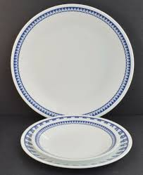 details about corelle vitrelle glass dinnerware plates set of 3 pcs white blue made in usa
