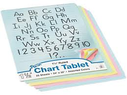 Pacon 74733 Colored Chart Tablet Ruled 24 X 32 Yw Pink Salmon Be Gn 25 Sheets Pad