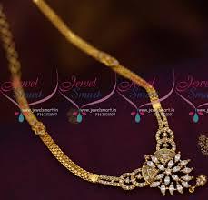 nl8028 flat chain semi precious ad white pendant south indian imitation designs