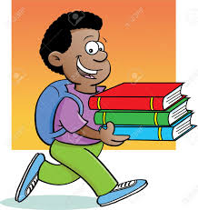 cartoon ilration of a kid carrying books with a background stock vector 14085335