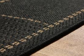 anti slip checked flatweave black rug