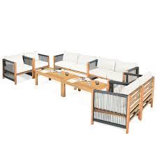 gymax 8pcs acacia wood outdoor patio