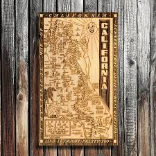 california hysterical s wooden map