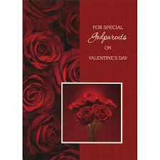 Designer Greetings Dark Red Roses Godparents Valentines Day Card