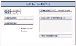 Sales Calls Template Sales Call Log This Template Is Prepared For Keeping Track