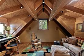 View in gallery Beautiful study room in the attic, with wood furnishings