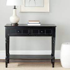 black console table with storage. Safavieh Samantha Distressed Black Storage Console Table With N
