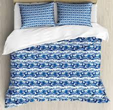bluee and white queen size duvet ocean waves with 2 pillow shams cover set nwvtsa2880 duvet covers sets