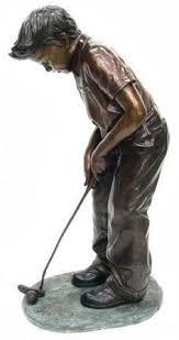 bronze boy putting golf statue