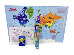 world map with reusable stickers educational toy for 4 12 year old boys and s return gift for kids