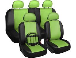 oxgord 17pc faux leather car seat covers set airbag universal fit for car truck suv steering
