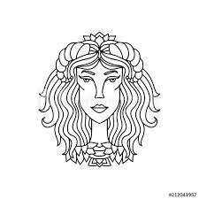 Taurus Girl Portrait Zodiac Sign For Adult Coloring Book Simple