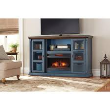 home decorators collection arabian tall 65 in tv stand infrared electric fireplace in antique blue