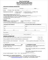 Admission Form For School Adorable 48 Sample Scholarship Applications Sample Templates