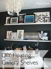 office floating shelves. DIY Floating Gallery Shelves, The Striped House, Black \u0026 White Office Shelves D
