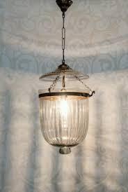 hundi line cut glass bell jar hanging lantern