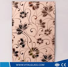 bent window decorative colored toughened mosaic acid etched patterned glass