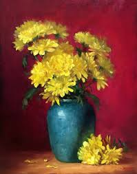saatchi art artist yana golikova painting yellow flowers in green vase oil painting