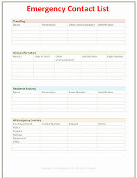Emergency Contact Printable Business Contact List Template Inspirational Free Printable