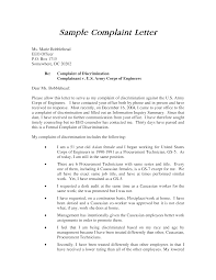Examples Letter Of Complaints Sample Complaint Against