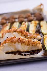 baked sea b zucchini sheet pan recipe