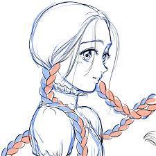 三 つ 編み イラスト
