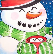 snowman canvas painting party