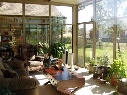 Inspirational Small Sun Room Design With Grey Midcentury Sofas As Well As X  Cross Base Coffee Desk As Well As Wide Glass Floor To Ceiling Windows  Decors ...