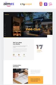 Page Design Cityscape Construction Company Design Landing Page Template