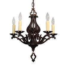 sold lovely antique five light cast iron chandelier by moe bridges c 1920s