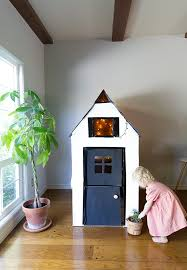 Decorating Cardboard Boxes DIY Cardboard Playhouse from a Box Say Yes 74