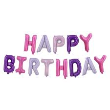 16 Inch Happy Birthday Letter Foil Balloons Banner Candy Purple