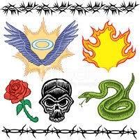 Tetování Vzory Lebka Rose Křídla Plamen Vektory Z Knihovny