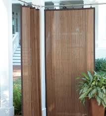 create shade and privacy outdoors with these water resistant outdoor bamboo curtain panels just thought this could be done using outdoor rugs using curtain