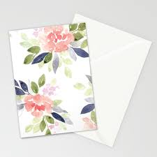 Peach Nvy Watercolor Flowers Stationery Cards By Katrinacrouch