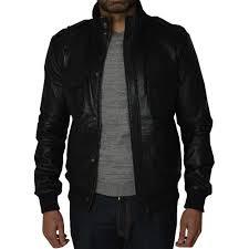 black leather mens er jacket
