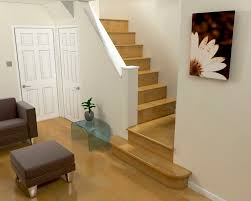 Incridible Straight Staircase Design With Wood Steps Added White Wall  Banister As Well As Modern Grey Couch In Modern Living Areas Decorating  Ideas