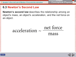 6 newton s second law of motion force and acceleration newton s second law describes the relationship