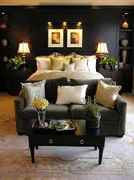 a luxurious bedroom with dark walls