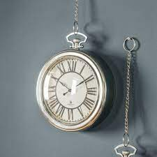 round silver chrome pocket watch