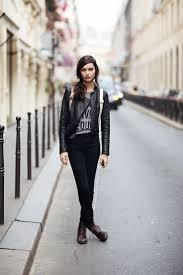 women s black leather biker jacket grey print crew neck t shirt black skinny jeans dark brown leather lace up flat boots women s fashion
