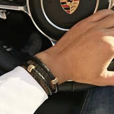 mens bracelets stainless steel black leather wristband bangle