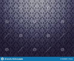 Zwart Behang Met Zilveren Damastpatroon Stock Illustratie