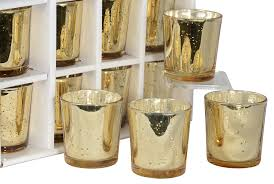 gold mercury candle holders. Wonderful Holders Set Of 12 Glass Votive Candle Holders In Gold Mercury Look Finish Throughout C