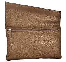 bronze and gold leather clutch bag
