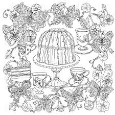 Uncoloured Sweets And Butterfly For Adult Coloring Book In Famous