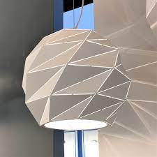 white pendant light with polygons