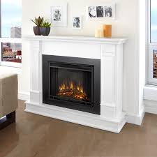 real flame 48 in w white led electric fireplace