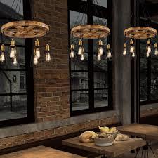 Modeen Kronleuchter Eisen Lampenschirm Runde Holz Anhänger