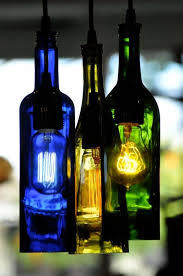custom made recycled glass wine bottle sky vodka blue glass pendant lamp edison lightbulb chandelier